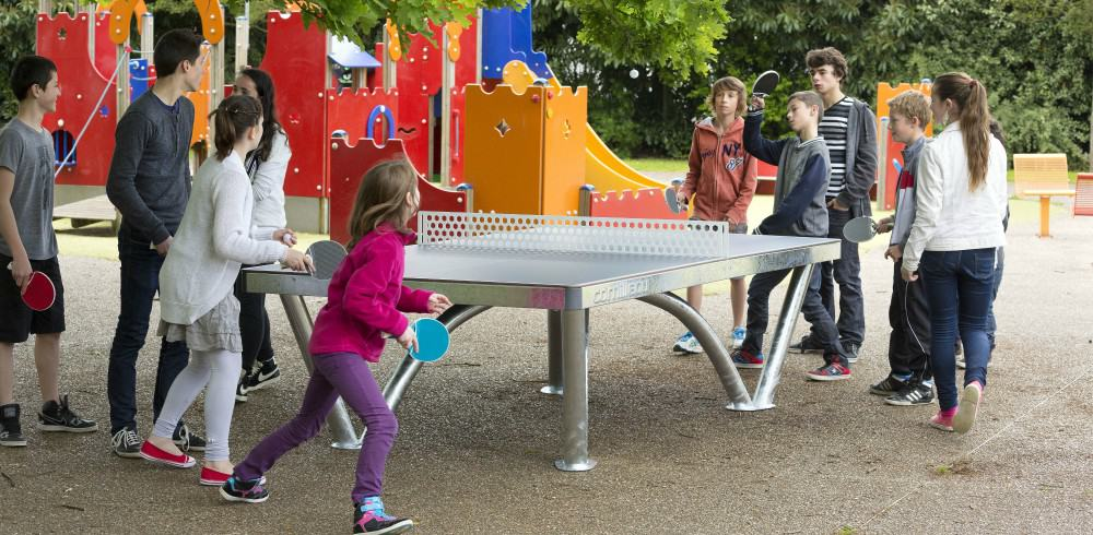 photo of an outdoor ping pong table