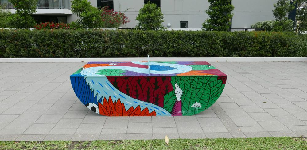 artwork on outdoor ping pong tables