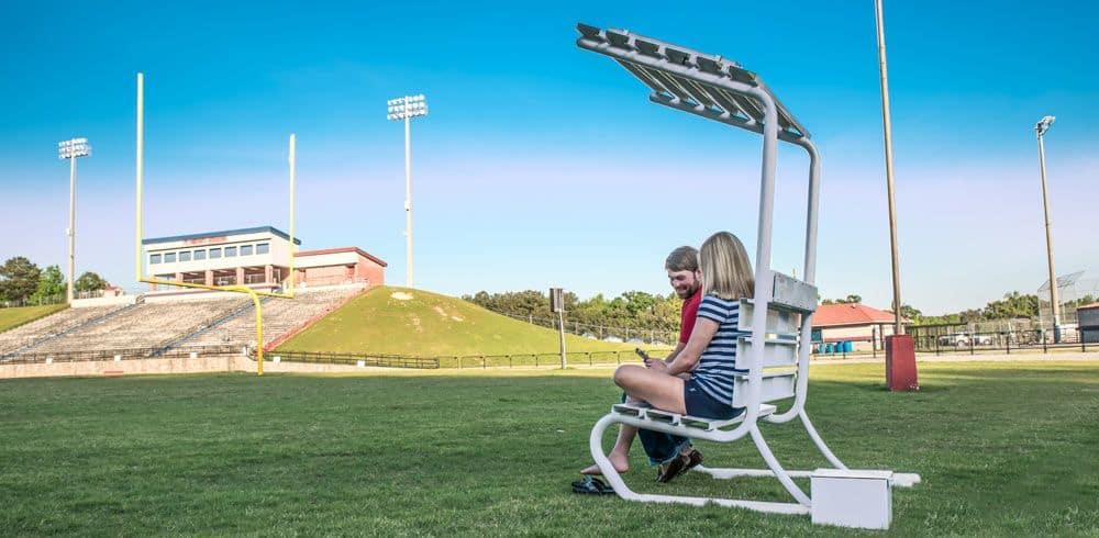 solar bench charging station