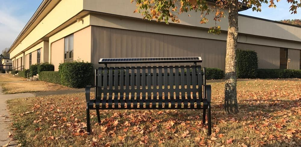 solar powered charging benches