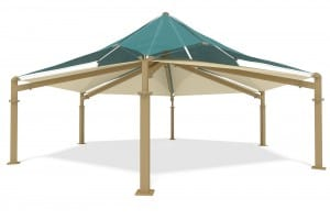 Hex double fabric shade structure