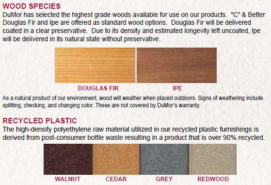 dumor wood and plastic options
